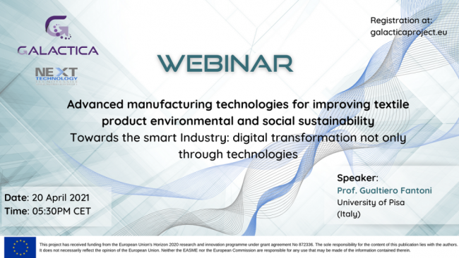 Webinar: Advanced manufacturing technologies for improving textile product environmental and social sustainability. Towards the smart Industry: digital transformation not only through technologies